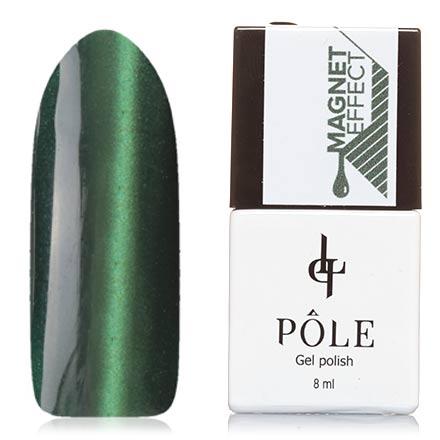 POLE, Гель-лак №5, Лесной зеленыйPOLE<br>Магнитный гель-лак (8 мл) хвойно-зеленый, со светло-зелеными микроблестками, плотный.