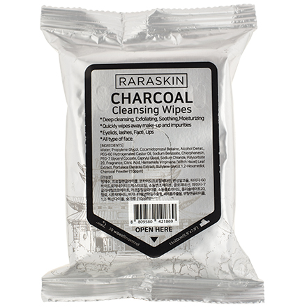 Купить Raraskin, Очищающие салфетки для лица Charcoal, 30 шт.