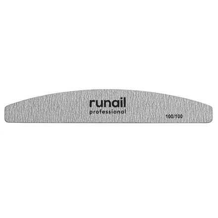 Купить RuNail, Пилка для искусственных ногтей Premium, серая, полукруглая, 100/100