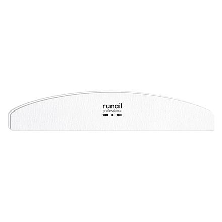 Купить RuNail, Пилка для искусственных ногтей, белая, полукруглая, 100/100