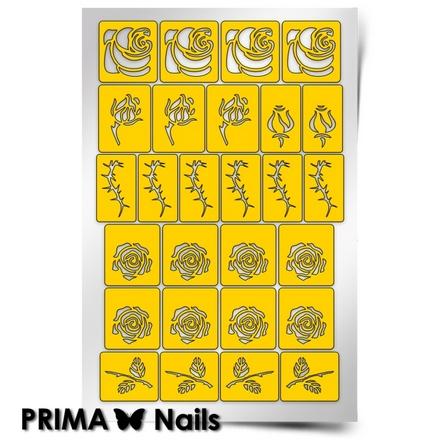 Prima Nails, Трафареты «Принт Розы»Трафареты для маникюра<br>Самоклеящиеся трафареты для необычного дизайнерского маникюра.<br>