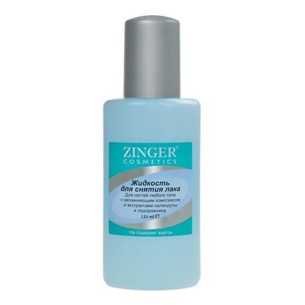 Zinger, Жидкость для снятия лака, c эктрактами календулы и подорожника, 125 мл