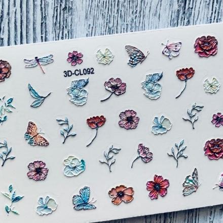 Купить AnnaTkacheva, 3D-стикер CL №092 «Веточки. Цветы», Anna Tkacheva