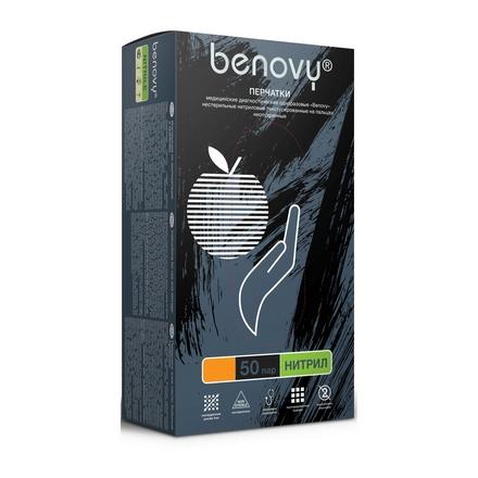 Купить Benovy, Перчатки нитриловые черные, размер L, 100 шт.