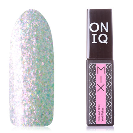 Купить ONIQ, Гель-лак MIX №105s, Pink and Gold Yuki Flakes, Розовый