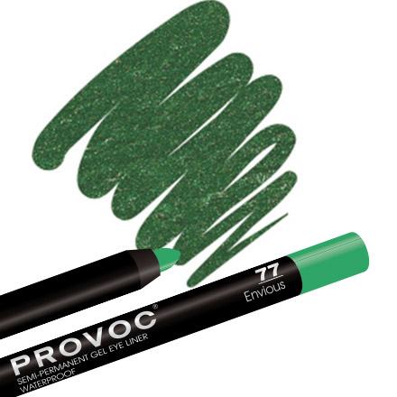 Provoc, Gel Eye Liner 77 Envious, цвет малахитовый с шиммером карандаш для глаз provoc semi permanent gel eye liner 90 цвет 90 limo service variant hex name 1c1c1c