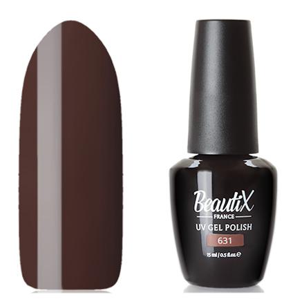 Beautix, Гель-лак №631, 15 млBeautix<br>Гель-лак (15 мл) темно-коричневый, без перламутра и блесток, плотный.