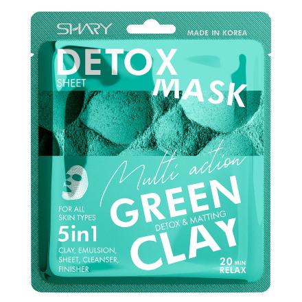 Shary, Маска для лица 5 в 1 Green Clay, 25 г