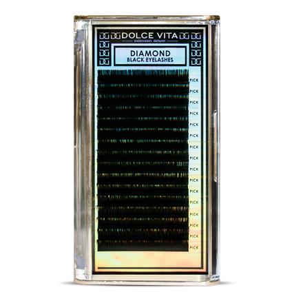 Dolce Vita, Ресницы в ленте Diamond Black Deluxe 0.2/14 C кукольный изгибНаращивание ресниц<br>Ресницы в ленте Diamond Black Deluxe 0.2/14 C.<br>