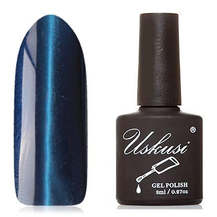 Uskusi, Гель-лак «Кошачий глаз Lux» №15Uskusi<br>Магнитный гель-лак (8 мл) темно-синий, с голубыми микроблестками, плотный.<br><br>Цвет: Синий<br>Объем мл: 8.00