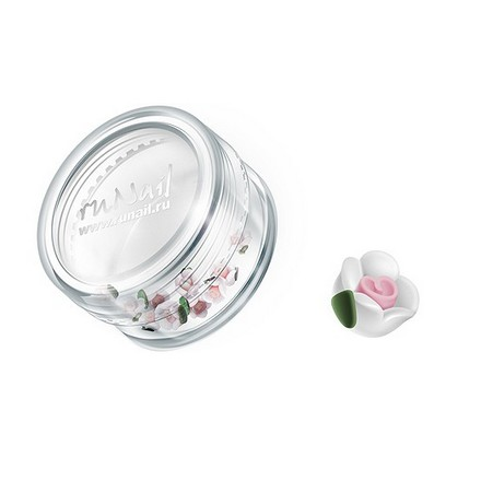 ruNail, дизайн для ногтей: пластиковые цветы 0349 (чайная роза, белый), 10 штук