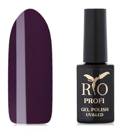Rio Profi, Гель-лак №12 Спелый баклажанRio Profi<br>Каучуковый гель-лак (7 мл) темно-баклажановый,  без перламутра и блесток, полупрозрачный.
