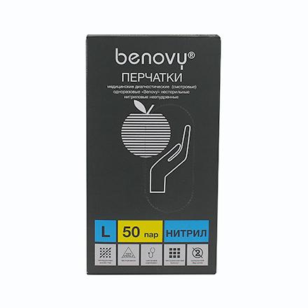 Купить Benovy, Перчатки нитриловые голубые, размер L, 100 шт.
