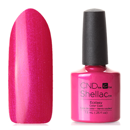 CND, цвет EcstasyCND<br>(7,3 мл) цвета фуксии, с перламутром, полупрозрачный.<br><br>Цвет: Розовый<br>Объем мл: 7.30