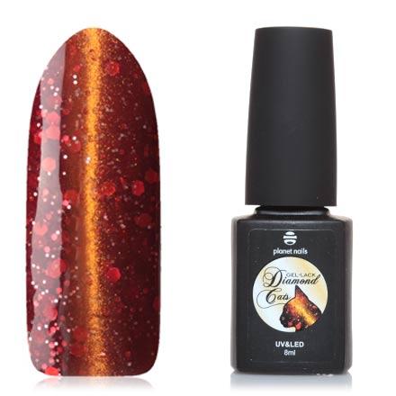 Planet Nails, Гель-лак Diamond cats №760Planet Nails<br>Магнитный гель-лак (8 мл) глубокий красный, с золотыми микроблестками и алыми блестками разной величины, плотный.<br><br>Цвет: Красный<br>Объем мл: 8.00
