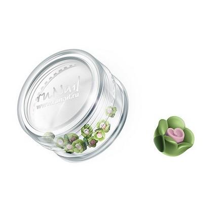 ruNail, дизайн для ногтей: пластиковые цветы 0341 (чайная роза, зеленый), 10 штук