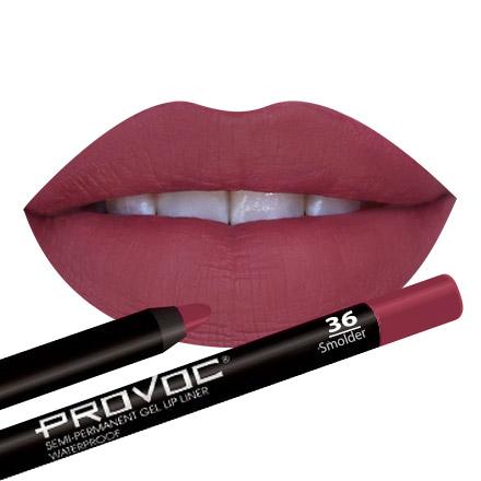 Provoc, Gel Lip Liner 36 Smolder, Гелевая подводка-карандаш для губ (красно-малиновый)