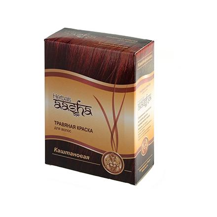 Купить Aasha Herbals, Травяная краска для волос, каштановый, 6х10 г