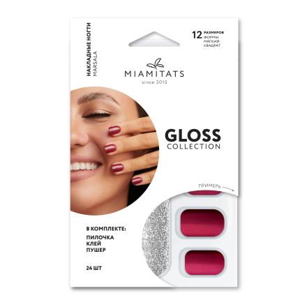 Купить Miami Tattoos, Накладные ногти Marsala Gloss