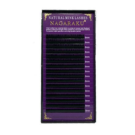 NAGARAKU, Ресницы на ленте Natural Mink, 8/0,07 мм, D-изгибНаращивание ресниц<br>Ресницы для поресничного метода наращивания. В упаковке 16 линий.