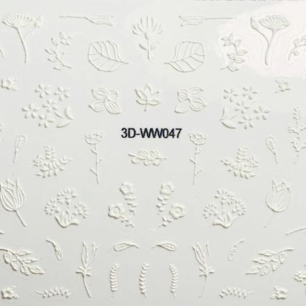 Anna Tkacheva, 3D-стикер №047 «Цветы. Листья», белый фото