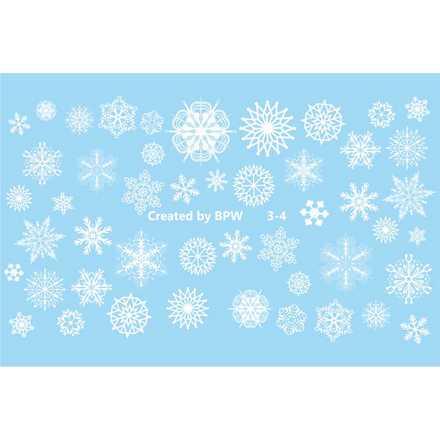 BPW.Style, Слайдер-дизайн «Белые снежинки» №3-4Слайдер-дизайн<br>Слайдер для создания оригинального дизайна на ногтях.