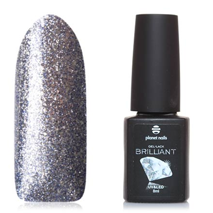 Planet Nails, Гель-лак Brilliant №706Planet Nails<br>Гель-лак (8 мл) на прозрачной подложке темно-синего цвета, с серебряной фольгой, плотный.
