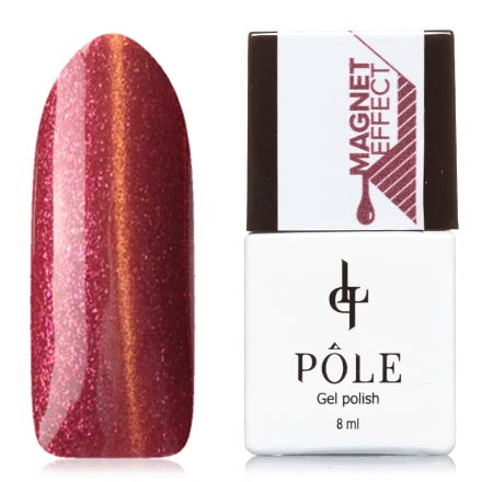 POLE, Гель-лак №35, ТицианPOLE<br>Магнитный гель-лак (8 мл) красно-вишневый, с медными и розовыми  микроблестками, плотный.