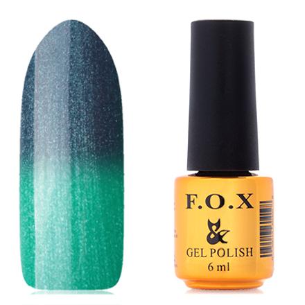 FOX, Гель-лак Thermo №016F.O.X<br>Гель-лак (6 мл) серо-синий/малахитовый, с большим количеством серебряных микроблесток, полупрозрачный.<br><br>Цвет: Синий<br>Объем мл: 6.00