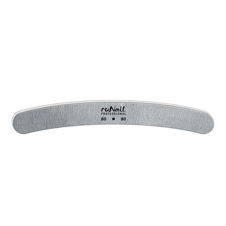 ruNail, Пилка для искусственных ногтей серая, бумеранг, 80/80