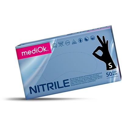 Купить MediOk, Перчатки нитриловые, одноразовые, черные, размер S, 100 шт.