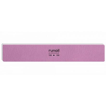 RuNail, Пилка для искусственных ногтей, розовая, прямая, 180/180  - Купить
