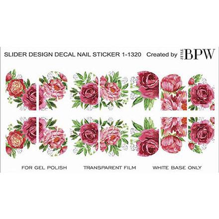BPW.Style, Слайдер-дизайн «Пионы» №1-1320Слайдер-дизайн<br>Слайдер для создания дизайна на ногтях.<br>