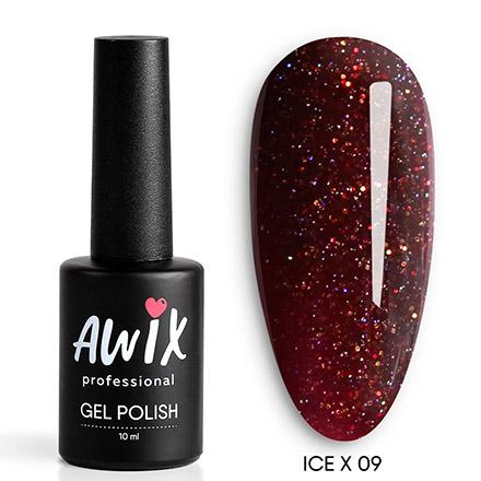 Купить AWIX Professional, Гель-лак Ice X №009, Бордовый