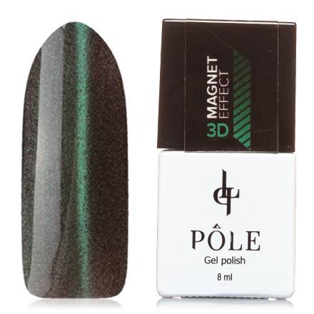 POLE, Гель-лак 3D №2, ИзумрудныйPOLE<br>Магнитный гель-лак (8 мл) на прозрачной подложке черного цвета, с изумрудными/синими микроблестками, полупрозрачный.<br><br>Цвет: Зеленый<br>Объем мл: 8.00