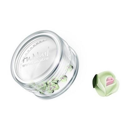 ruNail, дизайн для ногтей: пластиковые цветы 0369 (голландская роза, нежно-зеленый), 10 штук