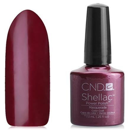 CND, цвет MasqueradeCND<br>(7,3 мл) цвет спелой вишни, с красными микроблестками, плотное.