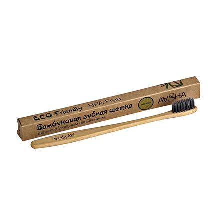 Aasha Herbals, Бамбуковая зубная щетка с угольным напылением, мягкая фото