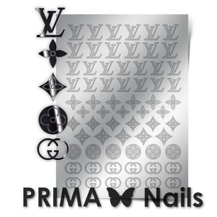 Prima Nails, Металлизированные наклейки FSH-02, сереброНаклейки для дизайна<br>Наклейки для необычного дизайнерского маникюра.<br>
