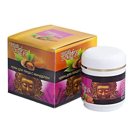 Aasha Herbals, Крем с миндалем для лица, 50 мл