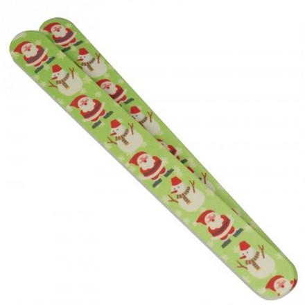 Camillen 60, Пилка 150/220 Санта Клаус, зеленая, 1193Пилки для натуральных ногтей<br>Пилка для ногтей двухсторонняя 150 и 220 Грит. Зимний дизайн.<br>