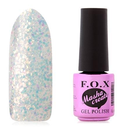 FOX, Гель-лак Masha Create Pigment №912F.O.X<br>Гель-лак (6 мл) на прозрачной подложке, с полупрозрачными голографическими блестками, прозрачный