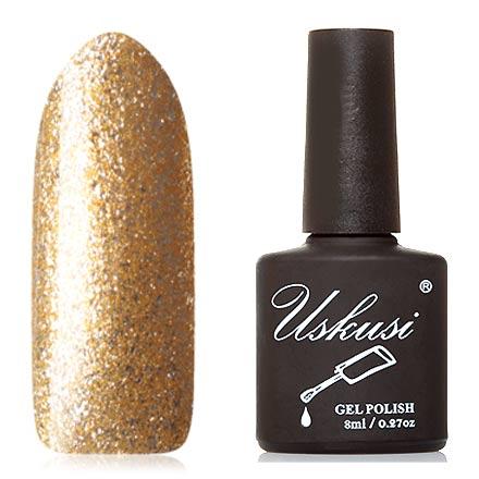 Uskusi, Гель-лак «Гламур» №2Uskusi<br>Гель-лак (8 мл) на прозрачной подложке, с золотыми микроблестками и серебряной фольгой, плотный.<br><br>Цвет: Золотой<br>Объем мл: 8.00