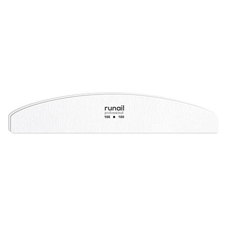 Купить RuNail, Пилка для искусственных ногтей, белая, полукруглая, 100/180