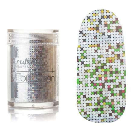 ruNail, дизайн для ногтей: фольга 1988 (серебряный, голографический)