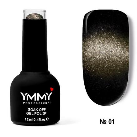 Купить YMMY Professional, Гель-лак 3D Cat's Eye «Метеорит» №001, Черный