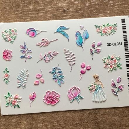 Купить AnnaTkacheva, 3D-стикер CL №081 «Цветы. Веточки», Anna Tkacheva