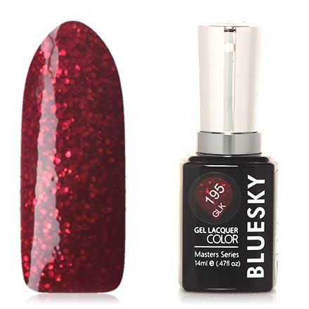 Bluesky, Гель-лак Masters Series №195Bluesky Шеллак<br>Гель-лак (14 мл) темно-красный, с алыми  блестками, плотный.