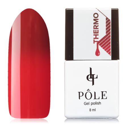POLE, Гель-лак  №05, кирпичный и красныйPOLE<br>Гель-лак термо (8 мл) красно-коричневый/ярко-красный, без перламутра и блесток, плотный.<br><br>Цвет: Красный<br>Объем мл: 8.00