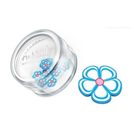 ruNail, дизайн для ногтей: резиновые аппликации 0419 (цветочки, голубой)